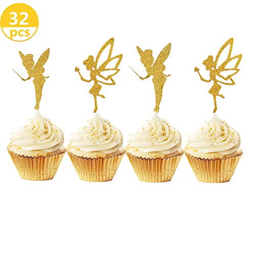 (JeVenis 32pcs Gold Glitter Fairy Cupcake Toppers Angel Cake Topper Ballet Cupcake Topper for Birthday Bridal Shower Baby Shower Wedding Decoration Supplies)