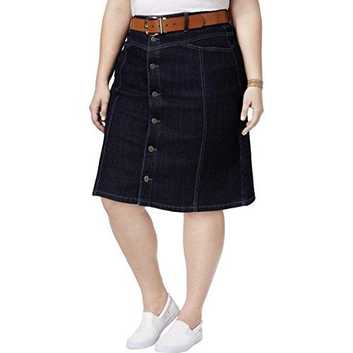 Style & Co. Womens Pencil Knee-Length Denim Skirt Blue 24W
