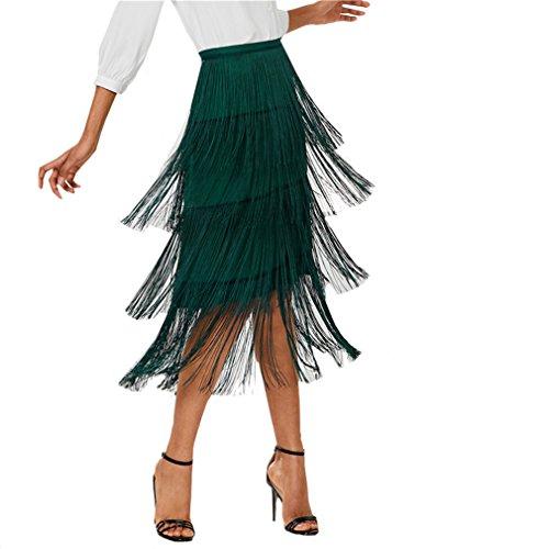 Jupe Vert Vintage Jambire Bangyin Green lgant D't Crayon Jupe Taille Bureau Femmes Tassel Midi Fringe Plaine Haute Jupe UqOwIw