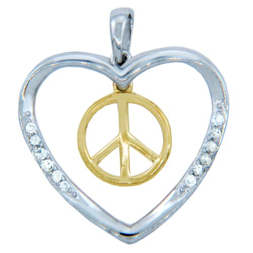 14 ct 585/1000 Or Pendentif - Or Frieden et Amour Pendentif Avec feinen Diamants