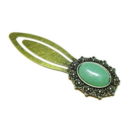 Vintage Style Brass Clip Bookmark w Gemstone Green ()