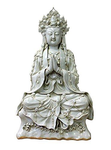 Vintage Chinese Tong Style Off White Porcelain Kwan Yin Tara Bodhisattva Statue Acs2972