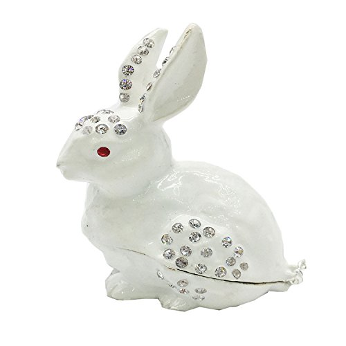 Enamel Trinket Box (Waltz&F White rabbit Hinged Trinket Box Bejeweled Hand-painted Ring Holder Animal Figurine Collectible)