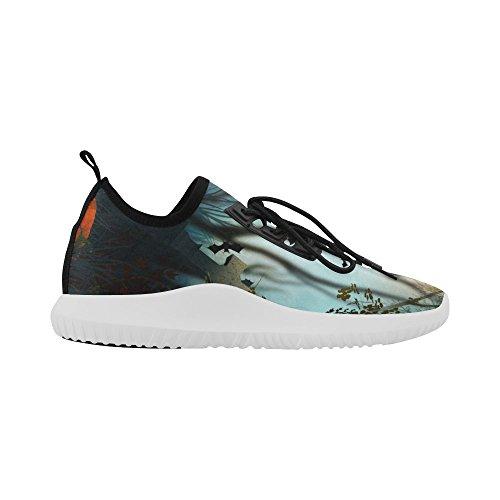 InterestPrint unicorn Dolphin Ultra Light Running Shoes for Women Halloween Bat Sq4D1