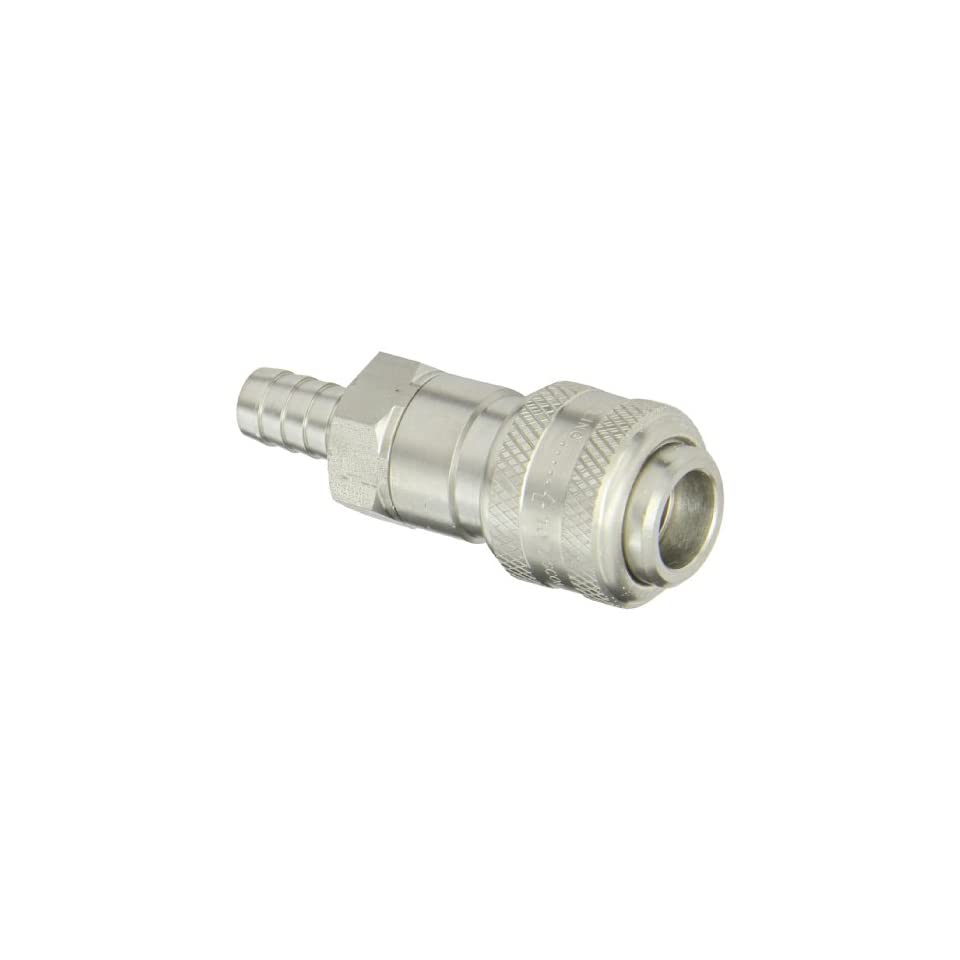 Dixon Valve 4DS4 S Stainless Steel 303 Automatic Industrial Interchange Pneumatic Fitting, Socket, 1/2 Coupler x 1/2 Hose ID Barbed