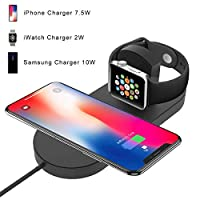 Wireless Charger Stand for Apple Watch, BQYPOWER 2-in-1 Charging Pad Docks Holder Compatible with iWatch Series 4/3/2/1, iPhone Xs Max/XS/XR/X/8/8 Plus, Samsung S8/Note8 Series by BQYPOWER
