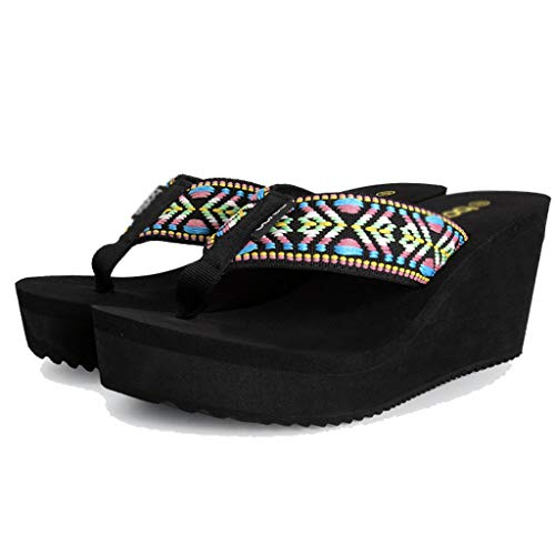 Forme Slip Non Plage 39EU Couleur Sandales AMINSHAP Chaussures Modèles Brown Pantoufles De D'été Pantoufles Féminins Taille Flip Épaisse Flops Et Plate avec Noir ZnPwTaqZx