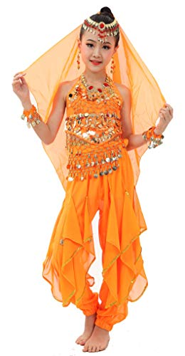 Cielary Kids Girls Belly Dance Halter Top Harem Pants Costume Set Halloween Outfit with Head Veil Waist Chain and Bracelets (M(Height: 47