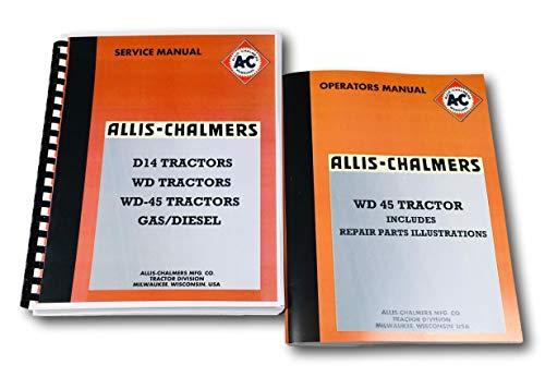 Set Allis Chalmers Wd45 Tractor Service Repair Operators Parts Shop Manuals New