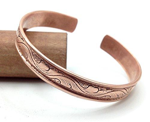 Healing Lama  100% Pure Copper Hand Carved Tibetan Healing Bracelet. Unisex, Hand Made High Gauge Copper