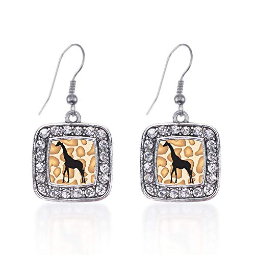Inspired Silver - Giraffe Silhouette Charm Earrings for Women - Silver Square Charm French Hook Drop Earrings with Cubic Zirconia - Silhouette Earrings Hook