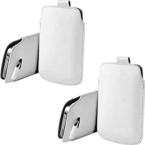 ONX3 Twin Pack Alcatel One Touch Pop C5 PU de cuero protector Tab Pouch Funda Piel extracción (Blanco)