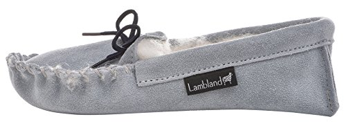 Lambland Girls - Boys Genuine Suede and Lambswool Moccasin Slippers with Soft Sole - Pink - Blue - Beige Pale Blue m0OEIiB9