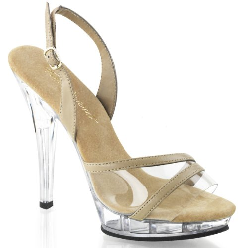 Fabulicious LIP-137 5 Heel, 3/4 PF Sling Back Sandal Taupe Pu-clear/Clear