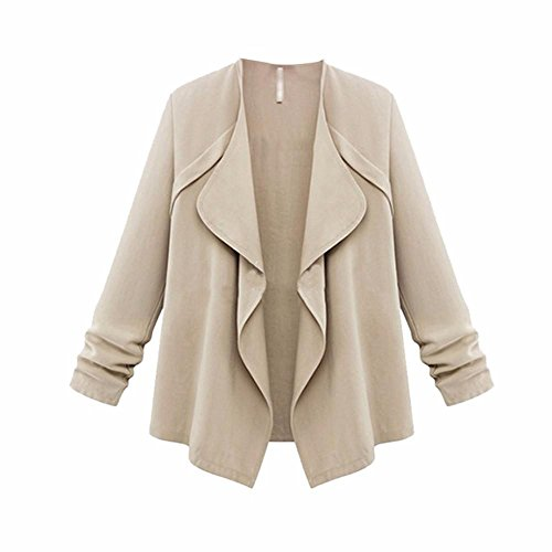 HGWXX7 Clearance! Women's Solid Plus Size Open Front Long Sleeve Loose Blouse Coat Cardigans(Khaki,2XL)