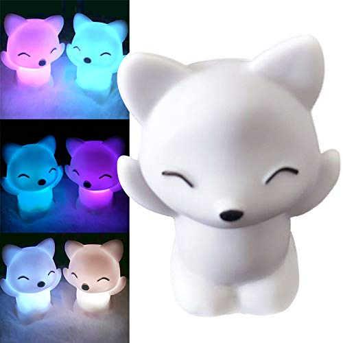 etc-Warm White Plug in Night Light for Baby,Childrens Room,Nurseries Stair GebuterLovely Foxes Shape LED Night Light Lamp 7 Changing Colors Energy Saving Decorations Wall with Dusk to Dawn