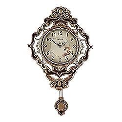 Gooday European Retro Style Wall Clocks Large Antique Quartz Clock with Swinging Pendulum Mute Silent Alloy Metal Art Decor for Kitchen,Living Room,Bedroom