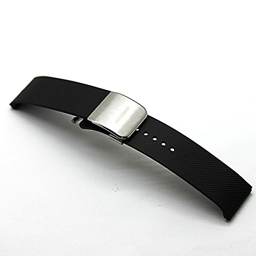 22mm Replacement Silicone Rubber Watch Band Bracelet Strap for Samsung Galaxy Gear 2 R380 Gear 2 Neo R381 (Black)