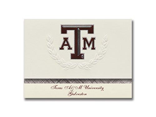 Signature Announcements Texas A&M University at Galveston Graduation Announcements, Platinum style, Elite Pack 20 with Texas A&M-Galveston Seal -