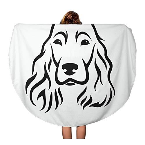 Semtomn 60 Inches Round Beach Towel Blanket Head English Cocker Spaniel Animal Black Breed Canine Cute Travel Circle Circular Towels Mat Tapestry Beach Throw
