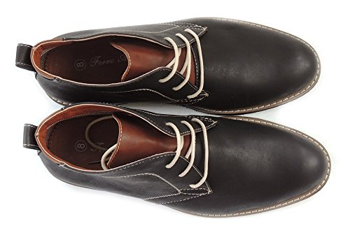 Nytt Mode Mens Boots Läderfodrad Chukka Snörning Dressat Skor Mfa506008 Svart