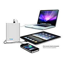 Lizone® Extra Pro 40000mAh Super Capacity Portable External Battery Adapter Charger for Apple MacBook Air, MacBook Pro, MacBook, PowerBook and iBook; HP Compaq Pavilion, Mini, ElifeBook, ProBook,Presario, Envy and G; IBM Lenovo ThinkPad and IdeaPad; USB Port for iPad Air, iPad mini,iPad and iPhone; Samsung Galaxy, Nexus , MOTO, G, LG, HTC and More -Aluminum UniBody, 18 Months Warranty Silver 40000mAh