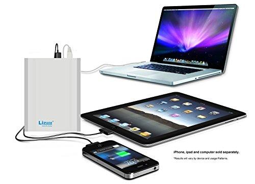 Lizone® Extra Pro 40000mAh superb Capacity lightweight External Battery Adapter Charger for Apple MacBook Air, MacBook Pro, MacBook, PowerBook and iBook; HP Compaq Pavilion, Mini, ElifeBook, ProBook,Presario, Envy and G; IBM Lenovo ThinkPad and IdeaPad; USB Port for iPad Air, iPad mini,iPad and iPhone; Samsung Galaxy, Nexus , MOTO, G, LG, HTC and extra -Aluminum UniBody, 18 Months warrantee Silver 40000mAh