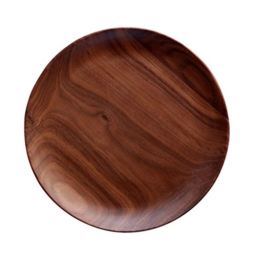 Plates Log Kitchen Fruit Plate Salad Plates, Household Round Plates Dessert Plates, Dining Wood Plates (Color : Brown, Size : 20202.2cm)