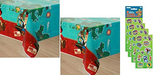 (Jake and the Neverland Birthday Party Decorations Table Cover - 2 Count with 4 Sticker)