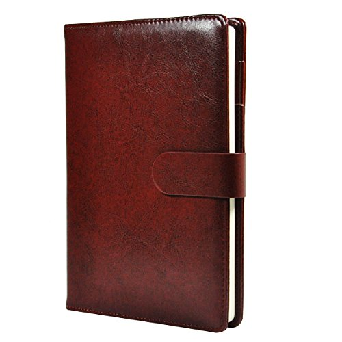 Faux Leather Cover Magnetic Clasp + Pen Loop 4 Color Optional (Burgundy) (Faux Leather Cover Journal)