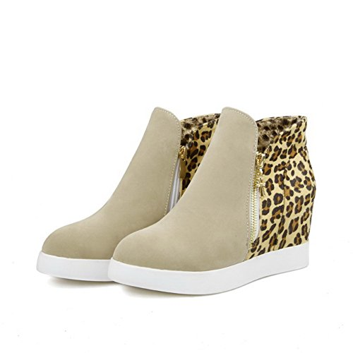 Round Boots Women's Heels Allhqfashion Kitten Beige Closed Ankle high Imitated Toe Suede CTvq5