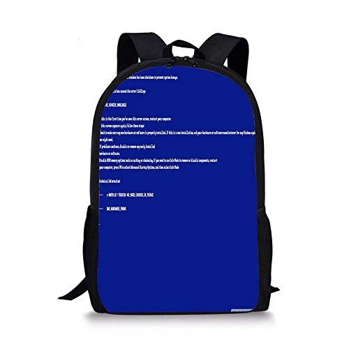 CanYabags School Backpack,Bluescreen Of Death Unisex Classic Lightweight Water-resistant Rucksack for Men Women College Schoolbag Travel Bookbag (Death Solves All Problems No Man No Problem)