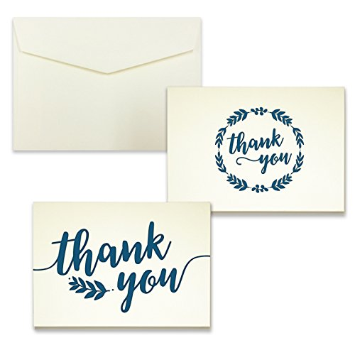 Navy Laurel Letterpress Thank You Card Assortment - Pack of 24 - 5