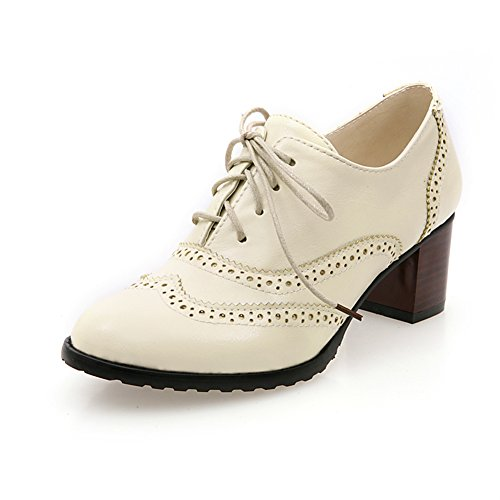 fereshte Women's Spring New Comfy Faux Leahther Rounded-Toe Low-Top Lace-Up Chunky Heel Ankle Bootie Beige