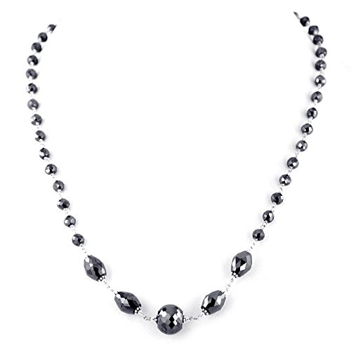 Barishh Certified Black Diamond Necklace -Free Matching Earrings 18 inches 4 mm 73 ct. Very Elegant by Barishh