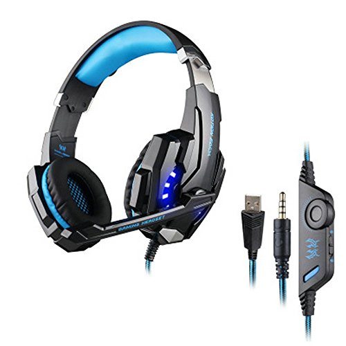 Viwind Gaming Headset for PS4, PC, Xbox One Controller, Noise Cancelling Over Ear Headphones with Mic & LED Lights,Stereo Sound,Soft Earmuffs for Computer Laptop Mac Nintendo Switch Games by Viwind