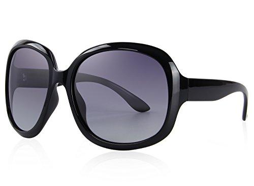 MERRY'S Women's Polarized Driving Sunglasses Fashion Oversized Sun glasses UV400 S6036 (Black, - Sunglasses Oval Oversized