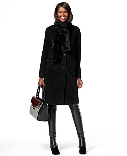 (Jones New York Single-Breasted Raglan Sleeve A-Line Coat Black 4)