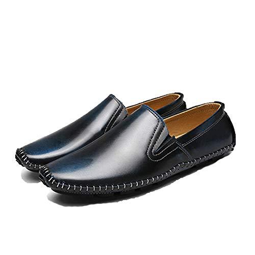Suave Cuero Qiusa los Azul Hombres para tamaño Antideslizantes Mocasines de Suela Resbalón Color Zapatos de 40 Vaca en Casuales Azul conducción los EU de 7A7rvqx