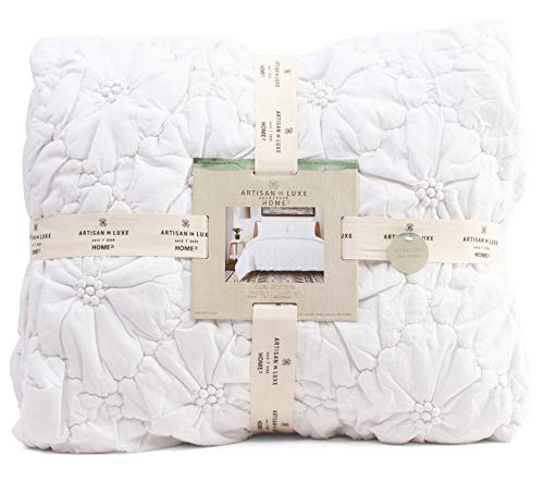 Textured Quilted Soft Washed Cotton Artisan Bedding Set Stitched Puckered Floral Full Queen Duvet Quilt Cover Scandi Chic Ruched Embroidered Flower (White)