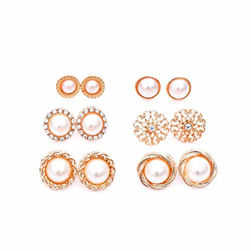 Dolland 6 Pair Simulated Pearl CZ Spiral Bridesmaid Pierced Stud Earrings Jewelry Gift For Women -