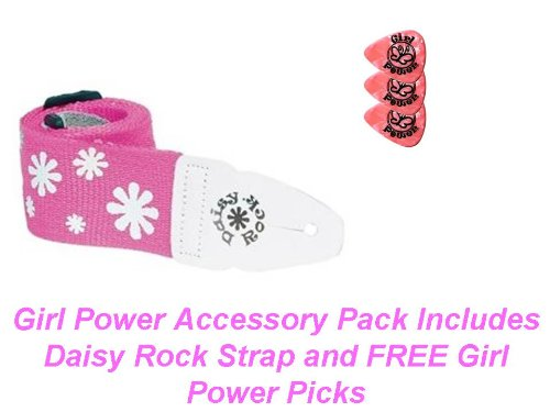 White Industries Daisy (Daisy Rock Popular White Daisies Strap With 3 Free Girl Power Pink Pearloid Medium Guage .73MM)