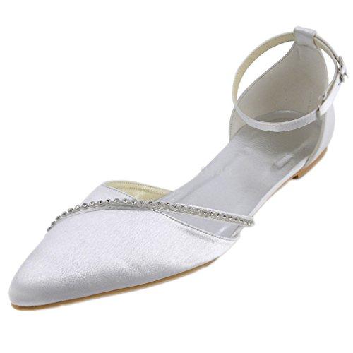 Femmes Chaussures Blanches Bout Pointu Strass Cheville Sangle Confortable  Ballerines Satin Mariage Appartements De Mariée Femme ef59b23a453d