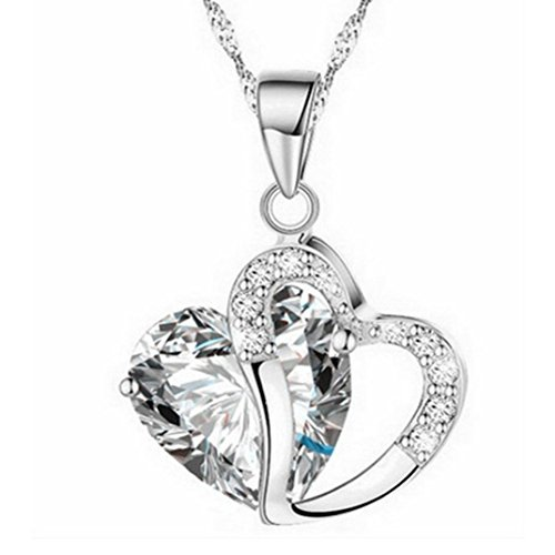 Rhinestone Pendant Necklace,Han Shi Hot Sale Luxury Women Heart Crystal Silver Chain...