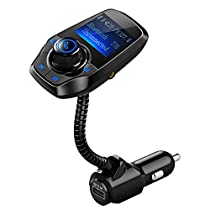 VicTsing T26 Bluetooth FM Transmitter, Wireless Car Kit for Hands-free Calling and Music, Dual-USB Charger With 3.5mm Audio Port, U Disk and TF Card Slot