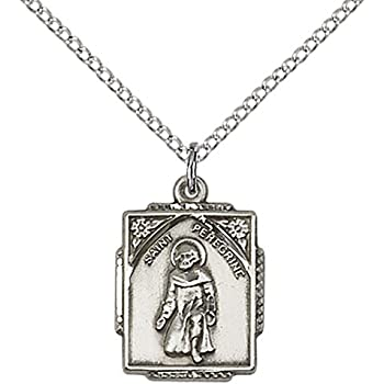 F A Dumont Sterling Silver St Patron Saint of Cancer//Running Sores Peregrine Laziosi Pendant with 18 Sterling Silver Lite Curb Chain