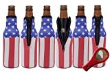 Beer Bottle Sleeves (6 Pack) Coolies With American Flag Design | Made Of Neoprene | Fits 12 Ounce Glass Beer Bottles Includes Bottle Opener For Sale