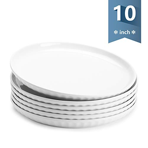 Sweese 156.001 Porcelain Fluted Dinner Plates - 10 Inch - Set of 6, White (10 Inch Set Dinner Plate)