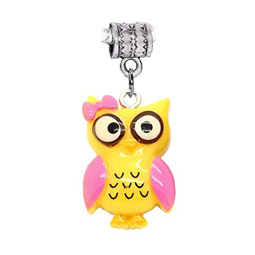 (Oversized Yellow Owl Resin Pink Girl Bow Bird Dangle Charm for European Bracelet Crafting Key Chain Bracelet Necklace Jewelry Accessories Pendants)