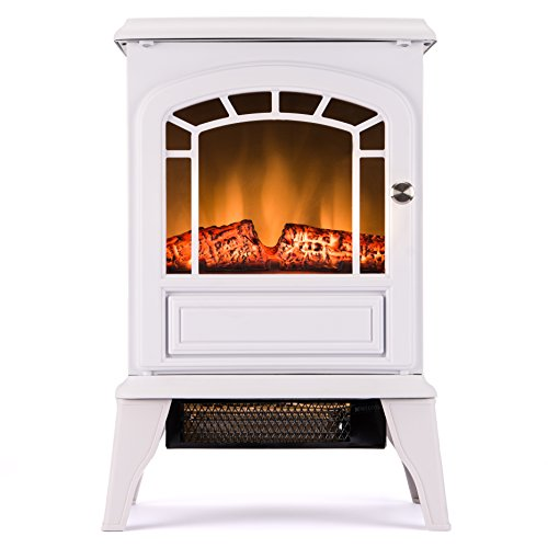 Aspen Free Standing Electric Fireplace Stove - 23 Inch White Portable Electric Vintage Fireplace with Realistic Fire and (White Fireplace Heater)